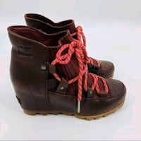 NEW! SOREL Wedge Lace up Waterproof Leather Booties! Sz 7 Wmns. Hamilton, L8P 1H8