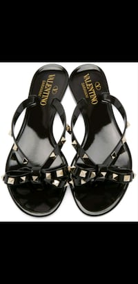 NEW VALENTINO ROCKSTUD BLACK BOW JELLY SANDAL Toronto
