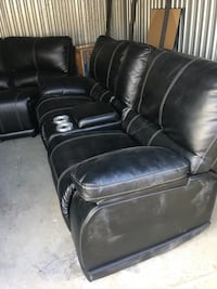 Black sofa / recliners sectional w/lights and cup holder Lancaster