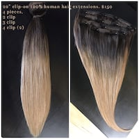 Clip on human hair extensions  New Westminster, V3M 4X1