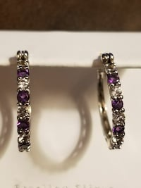 Amathyst & White Sapphires Hoop Earrings. 925