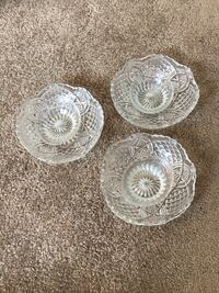 Intricate glassware / 3 set / fine cut - Nut Bowls or candy dishes Greensboro, 27455