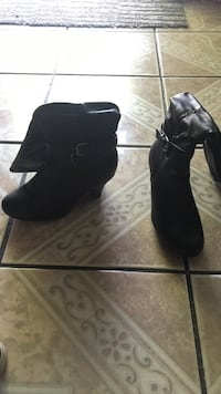 pair of black leather chunky heeled booties Norwalk, 90650