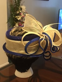Handmade white and blue sinamay hat Germantown, 20874