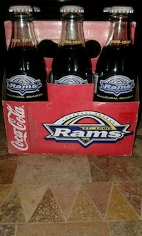 six St. Louis Rams Coca-Cola bottles