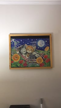 Brown wooden framed painting of owl Damascus, 20872