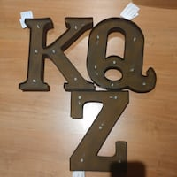 black K, Q and Z lighted wall decoration