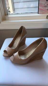 pair of brown leather peep toe platform pumps Fairfax