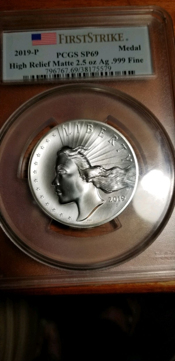 2019-P American Liberty High Relief Silver Matte Medal SP69 First Stri cea360c8-c11b-4eaa-bc31-70c2c23b7ecc