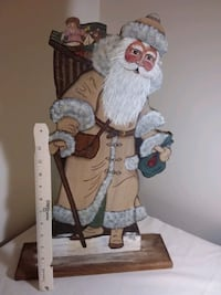 Hand-painted Primitive Wood Santa Clause (1 foot 9 inches Tall!) Bainbridge, 17502