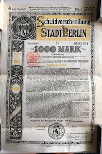 1915 Antique WWI Era German Bund Certificate Calgary, T2R 0S8