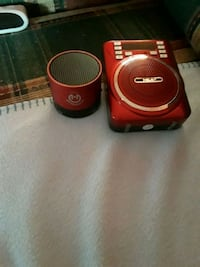 red and black portable speaker