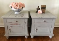 Pair of shabby chic solid wood nightstands  Mississauga, L5G 2K4