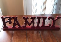 Red Wooden Family Sign 27 1/2 inch L x 6 inch H Bristol, 37620