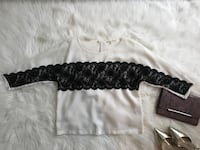 White Gianni Bini Blouse with black lace  Douglasville, 30135