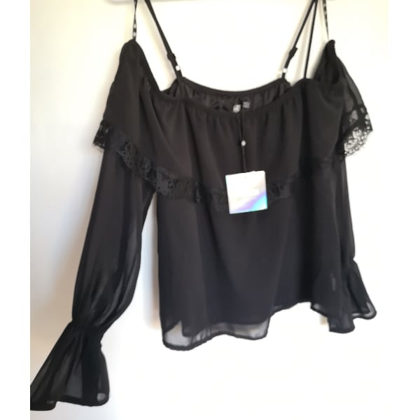 nwt Missguided Off Shoulder Mesh Lace Blouse 12