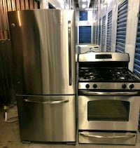 GE 30in Stainless steel refrigerator and gas stove