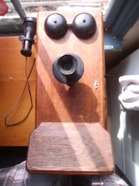 antique wooden crank phone (with conversion)