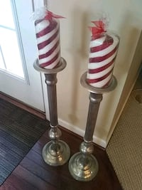 Candle holders and stripe candles.