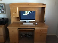 Brown wooden tv hutch with flat screen television Apple Valley, 92308