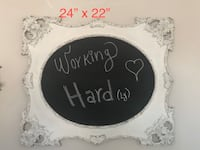 Distressed white wood chalk board - very shabby chic and antique