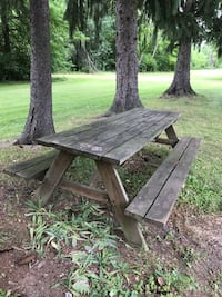 two brown wooden picnic tables Northfield, 44067