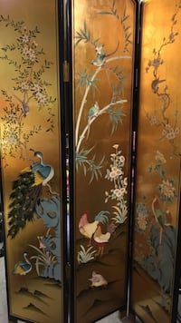 Oriental Folding Screen Hand Painted Gold Leaf Toronto, M1S 3Z1