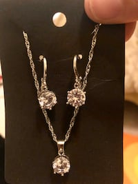 Sterling Silver (925) CZ Lever Back Earrings and Necklace Set Woodbridge, 22193