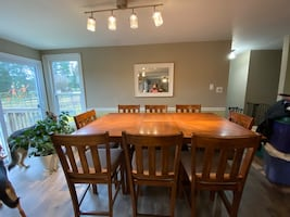 Solid wood bar height dining table with 8 chairs