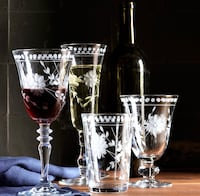 New Williams Sonoma (Set of 4) Etched Clear Crystal Water Goblets Washington, 20001