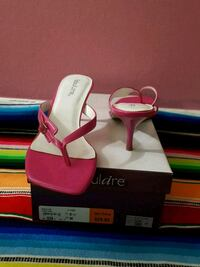 pair of pink leather open toe ankle strap heels Annandale, 22003