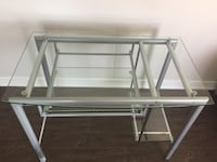 Grey metal glass desk under $100.00
