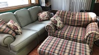 red and white plaid fabric sofa set Glen Ellyn, 60137