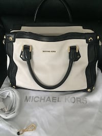 White and black Michael Kors leather 2-way bag Edmonton, T6V 1N9