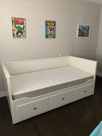 Bed frame with 3 drawers, white, with it's two Mattresses. IKEA Vaughan, L4H 3W5