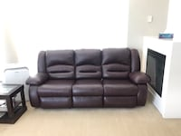 Leather Sofa with 2 recliners- almost brand new! Richmond