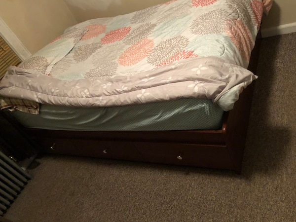 Used Brown Wooden Captains Bed With Drawers And Pillow Top Mattress