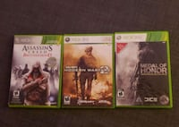 Call of duty, assassins creed and medal of honor for xbox360 Toronto, M2M 2E4
