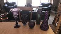 five purple glass flower vases Upper Marlboro, 20772