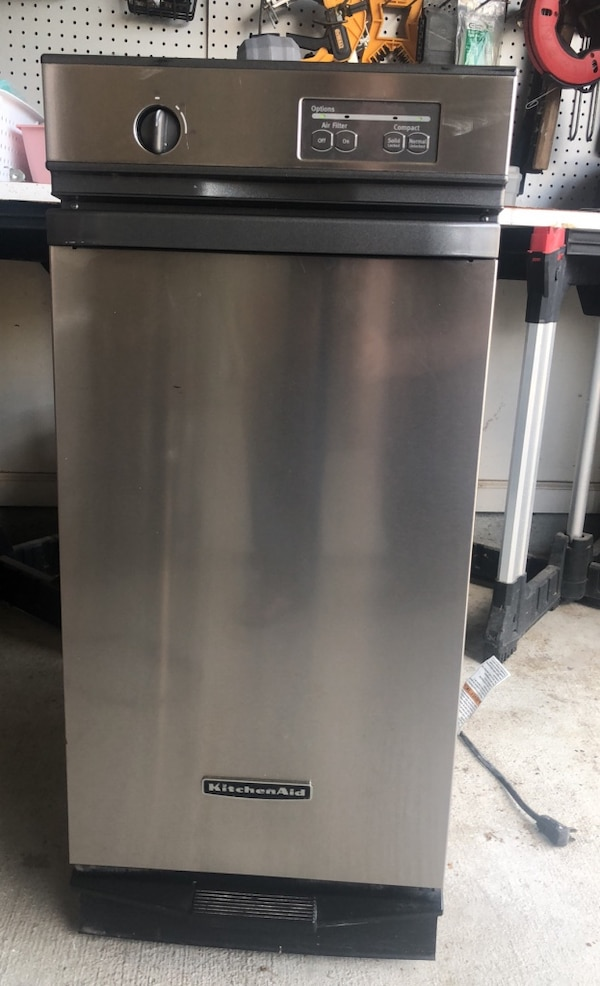 Stainless Kitchen Aid trash compactor