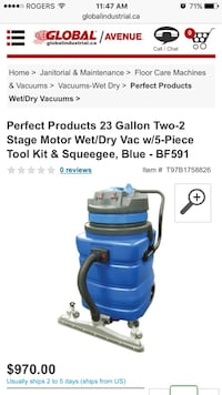 23 gallon two-2 stage motor wet/dry vac with 5 piece tool kit Toronto, M6G 1V3