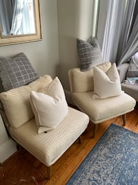 White Slipper Chairs & Pillows New