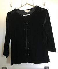 Women's black velveteen jacket blouse size small