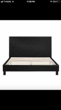 Queen Faux Leather Bed: Black Houston, 77088