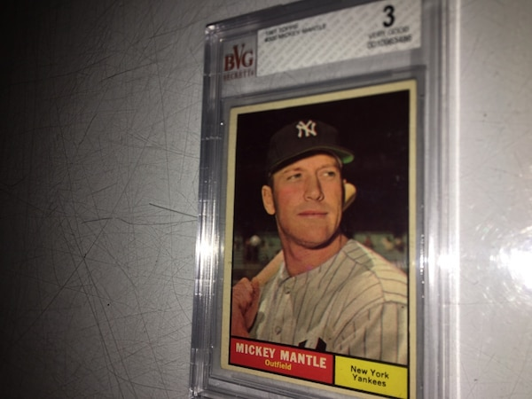 1961 Mickey Mantle Beckett Graded Topps Baseball Card For Sale