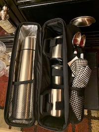 Stainless coffee kit with cups and in a black zip up kit  Kirkwood, 63122
