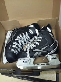 pair of black-and-white ice skates