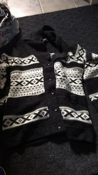 Black and white knitted button up jacket Winnipeg, R3X 2C5