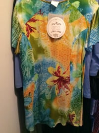 women's orange and multicolored floral dress