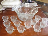 Glass PUnch bowl with 12 cups HEMET